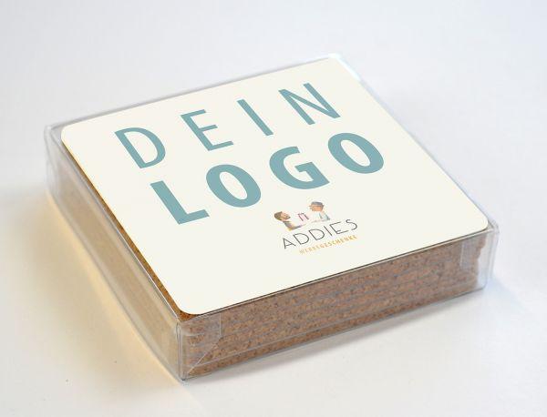 """Untersetzer Set """"6 Richtige"""" in Klarsicht-Geschenkboxsbox"""
